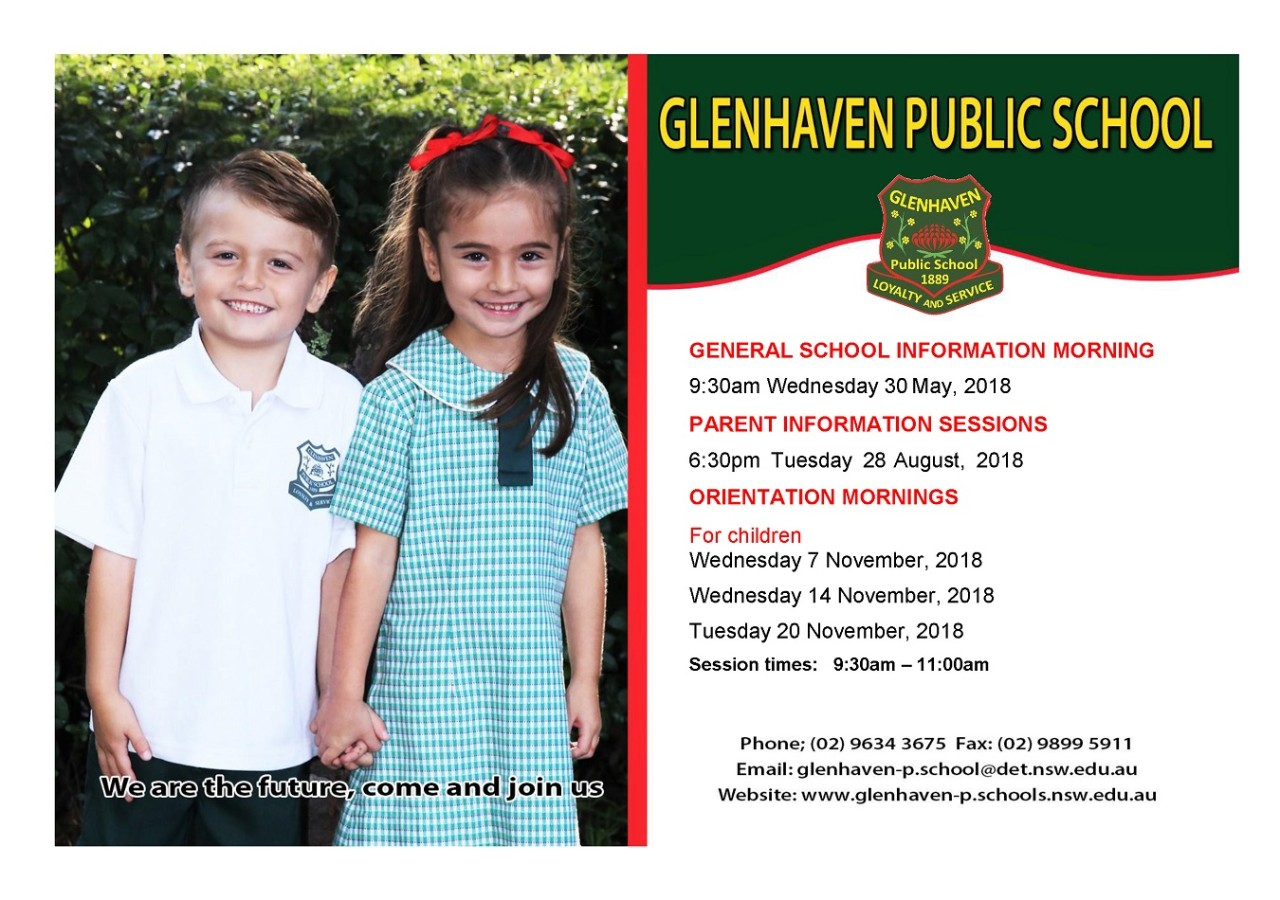 2019 Orientation card for Kindergarten